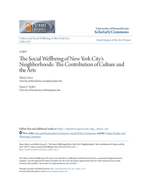 The Social Wellbeing of New York City's Neighborhoods: The Contribution of Culture and the Arts
