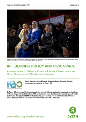 Influencing Policy and Civic Space: A meta-review of Oxfam's Policy Influence, Citizen Voice and Good Governance Effectiveness Reviews
