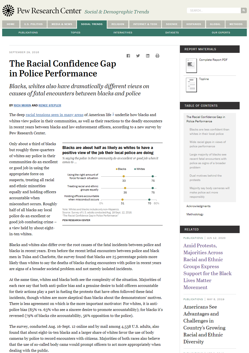 The Racial Confidence Gap in Police Performance: Blacks, Whites Also Have Dramatically Different Views on Causes of Fatal Encounters Between Blacks and Police
